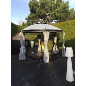 toile pour tonnelle ronde fabulous rideau brisesoleil pour tonnelle en toile textilne x cm gris. Black Bedroom Furniture Sets. Home Design Ideas